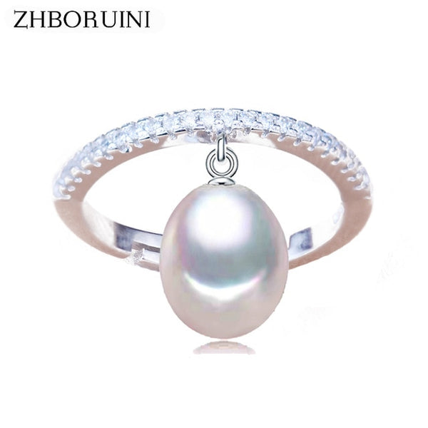 ZHBORUINI Natural Freshwater Pearl Ring with Zircon on 925 Sterling Silver Water Drop Design 0011