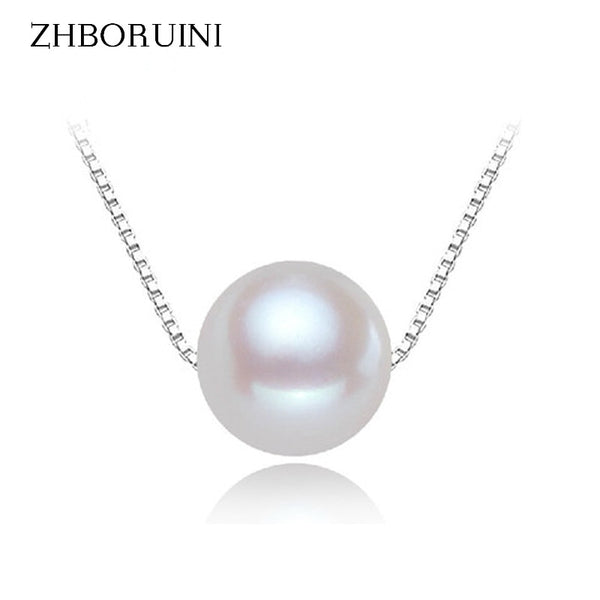 ZHBORUINI Pearl Necklace Pearl Jewelry 8-9mm 925 Sterling Silver Natural Freshwater Pearl Pendants