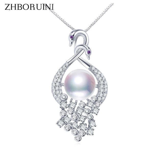ZHBORUINI Freshwater Pearl Pendant Two Swans Necklace 925 Sterling Silver ZH31