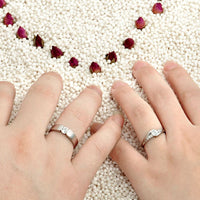 925 Sterling Silver Couple Ring set for Women and Men with Zircon Settings R143S. (Price Quoted per piece)