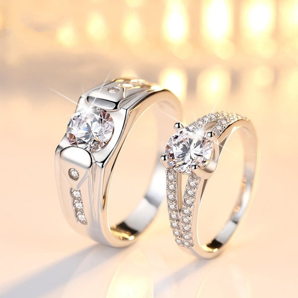 925 Sterling Silver Couple Ring with Zircon setting  R208 (Price quoted per piece)