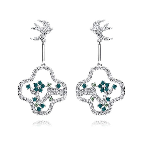 Blossom Bird Drop Earrings for Women with Crystal from Swarovski  CDE 004