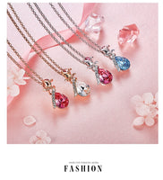 Women Necklace Embellished with Crystals from Swarovski - Necklace Tear Drop Pendant CDN003