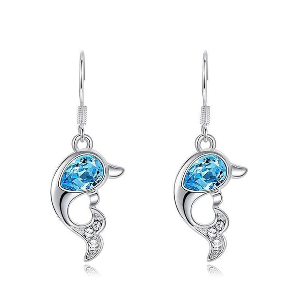 Dolphins Dangle Drop Earrings with Sky Blue Crystal from Swarovski CDE 005