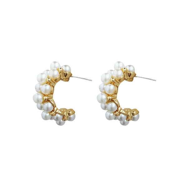 Intricate Hoop Earrings created with Simulated Pearls TER 1002