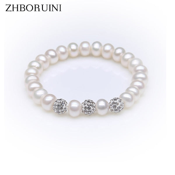 ZHBORUINI Crystal Ball Bracelet  Natural Freshwater Pearl 925 Sterling Silver ZB 004