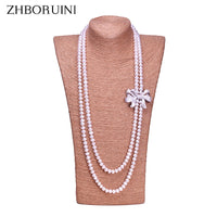 ZHBORUINI Fashion Long Pearl Necklace High Quality Natural Freshwater Pearl 925 sterling silver Jewelry Bowknot Women Necklace