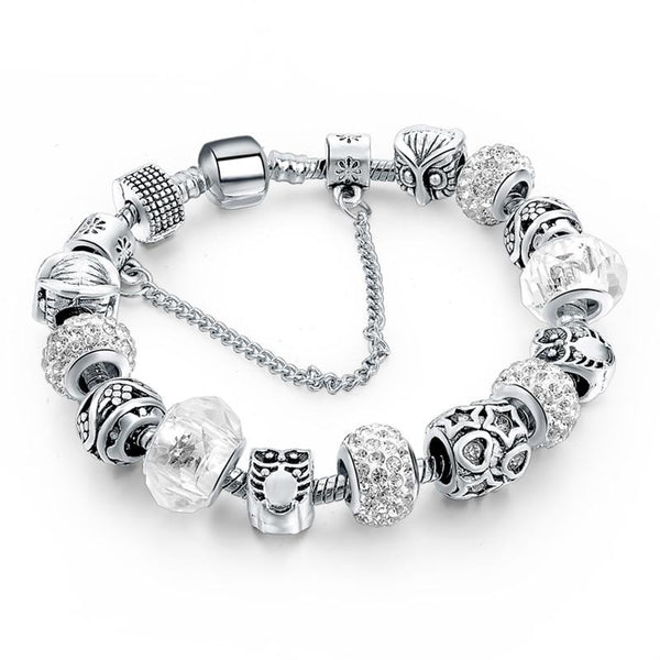 Elegant Vintage Crystal Charm Bracelets available in 19 various designs. TBR 1002