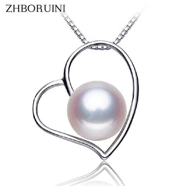 ZHBORUINI Necklace from natural Pearl on a Heart Pendants and necklace made form 925 Sterling Silver ZH94
