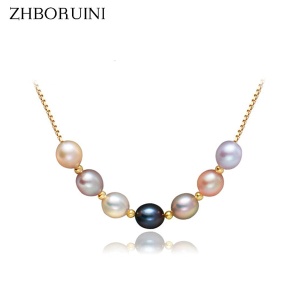 ZHBORUINI Natural Freshwater Pearl Multicolour set on a  925 Sterling Silver Necklace ZH 17