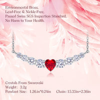 18K White Gold Heart Pendant Necklace For Women Embellished with crystals from Swarovski  CDN 006