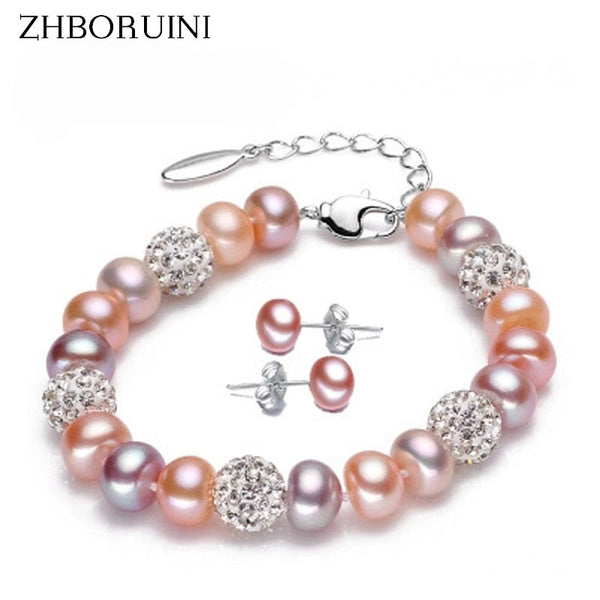 ZHBORUINI Natural Freshwater Pearl Bracelet & Earring 8-9mm on 925 Sterling Silver ZB 003