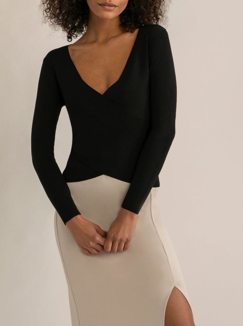 Riley Cropped Wrap Sweater