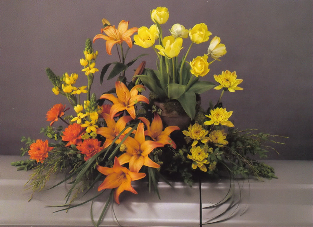 Casket Spray with Potted Tulips