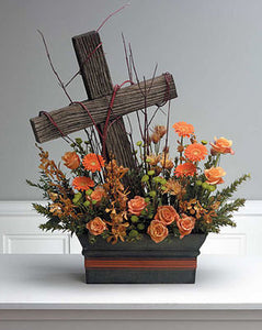 Driftwood Cross in Floral Hedge