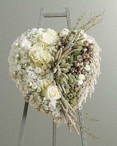 Heart of White Flowers and Dried Natural Materials