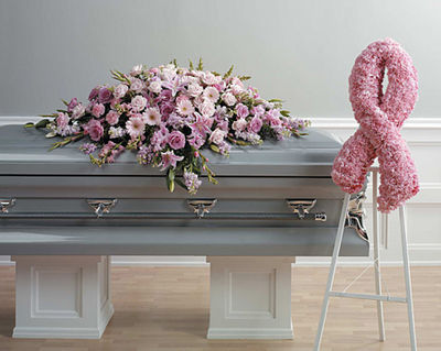 Pink Ribbon and Casket Spray Setting