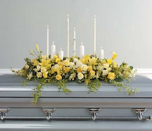 Yellow Casket Spray with Candles