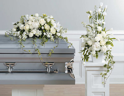White Casket Spray & Matching Pedestal Arrangement