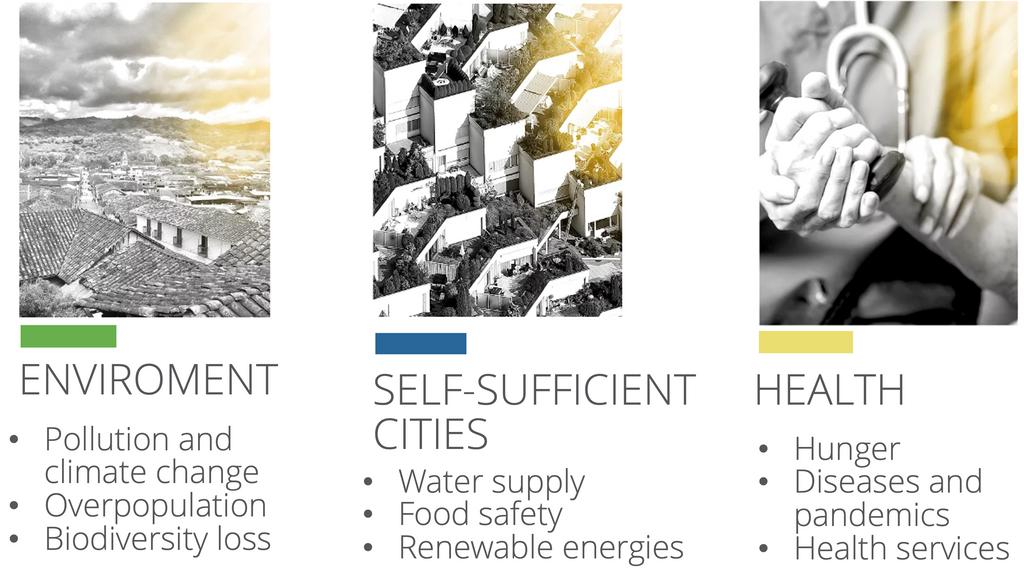 PROBLEMS - ENVIRONMENT, SELF SUFFICENT CITIES, HEALTH