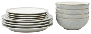 DENBY 12 PIECE ELEMENTS LIGHT GREY TABLEWARE SET