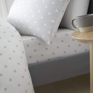 CATHERINE LANSFIELD DOTTY BRUSHED COTTON SINGLE FITTED SHEET GREY