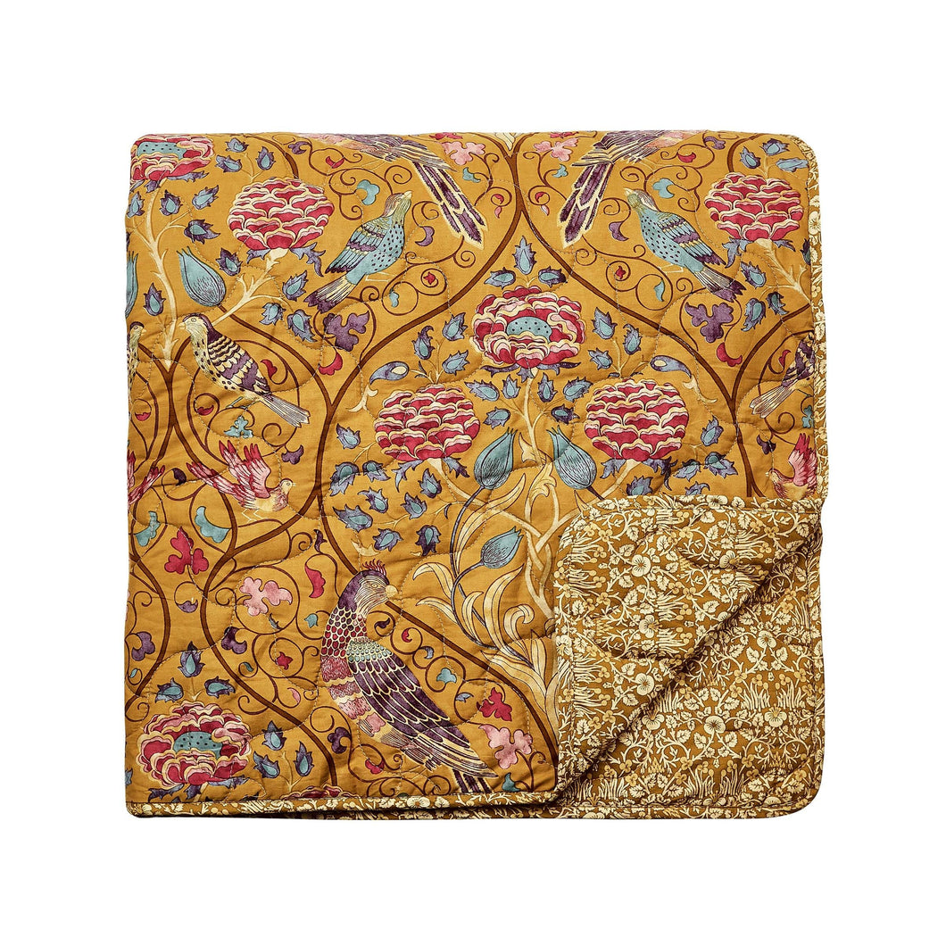 William Morris Seasons By May Bedding in Saffron organic cotton quilted bedspread