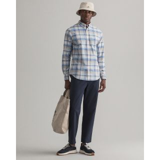 GANT <BR> Regular Fit Plaid Oxford Shirt <BR> Dry Sand <BR>