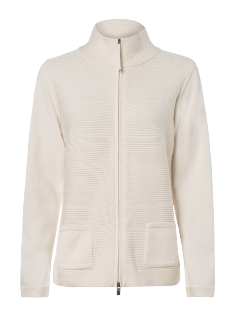 OLSEN RIBBED ZIPPED CARDIGAN WITH STAND UP COLLAR