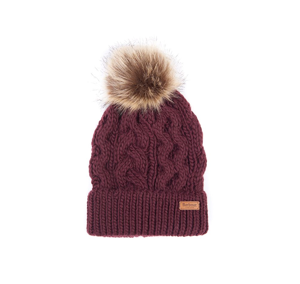 BARBOUR PENSHAW CABLE BEANIE BURGUNDY