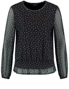 TAIFUN MESH TOP WITH AN ALL-OVER POLKA DOT PATTERN