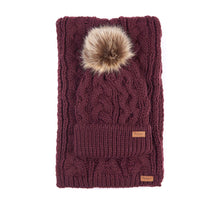 Load image into Gallery viewer, BARBOUR PENSHAW BEANIE & SCARF SET BURGUNDY