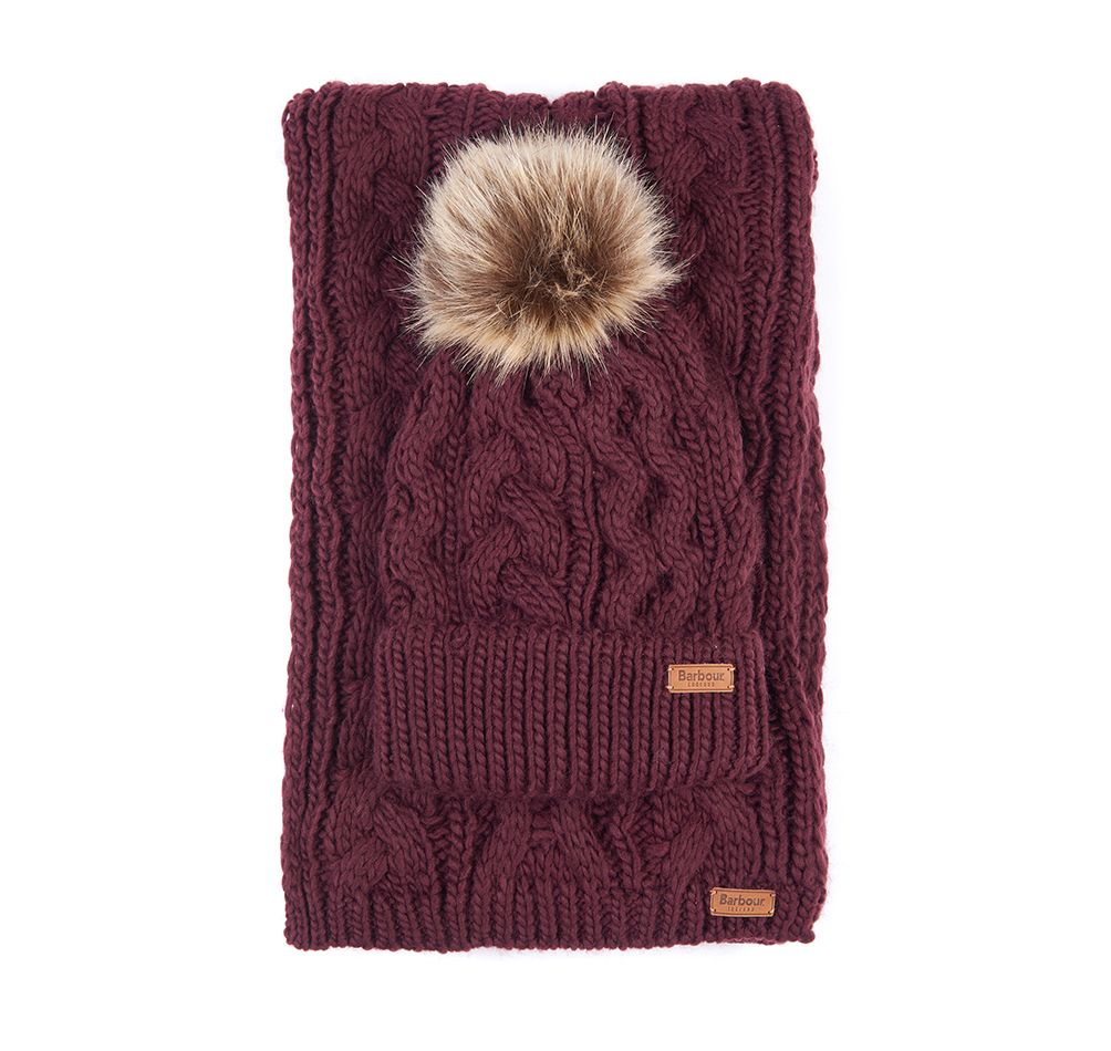 BARBOUR PENSHAW BEANIE & SCARF SET BURGUNDY