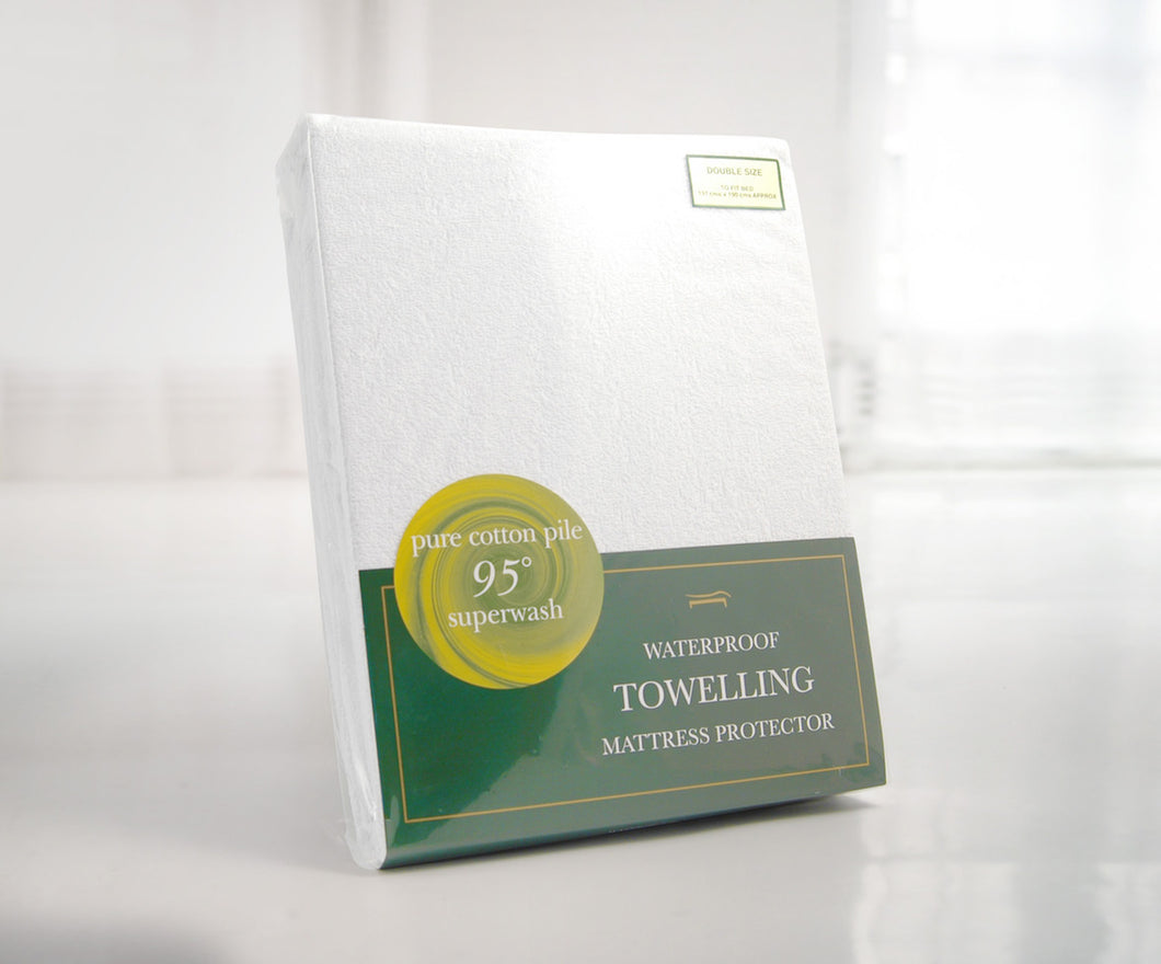 SLUMBERFLEECE KING WATERPROOF TOWELLING MATTRESS PROTECTOR