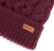Load image into Gallery viewer, BARBOUR PENSHAW CABLE BEANIE BURGUNDY