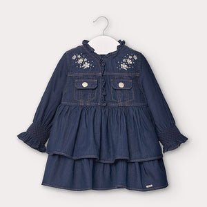 MAYORAL DENIM DRESS WITH RUFFLES