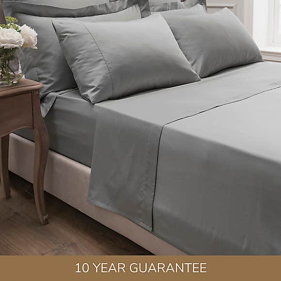 DORMA <BR> 300 Thread Count Sateen Cotton Single Fitted Sheet <BR> Silver <BR>