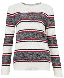BARBOUR <BR> Ladies Merseyside Sweater <BR> Cream, Red, Navy <BR>
