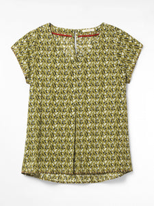 WHITE STUFF <BR> Kia Organic Cotton Top <BR> Yellow <BR>