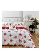 Load image into Gallery viewer, Catherine Lansfield Robins Christmas Double Duvet Cover Set