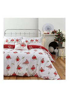 Catherine Lansfield Robins Christmas Double Duvet Cover Set