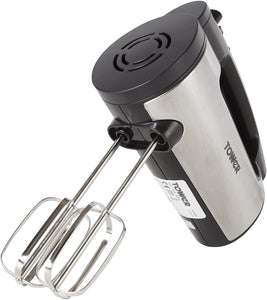 Stainless Steel Hand Mixer with 6 Speed Settings, Turbo Function, Stainless Steel Beater