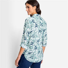 Load image into Gallery viewer, OLSEN <BR> Leaf Print Blouse with turn up sleeves <BR> Pistachio <BR>