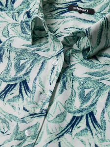OLSEN <BR> Leaf Print Blouse with turn up sleeves <BR> Pistachio <BR>