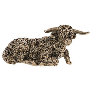 Bronzed Lying Down Highland Cow Figurine