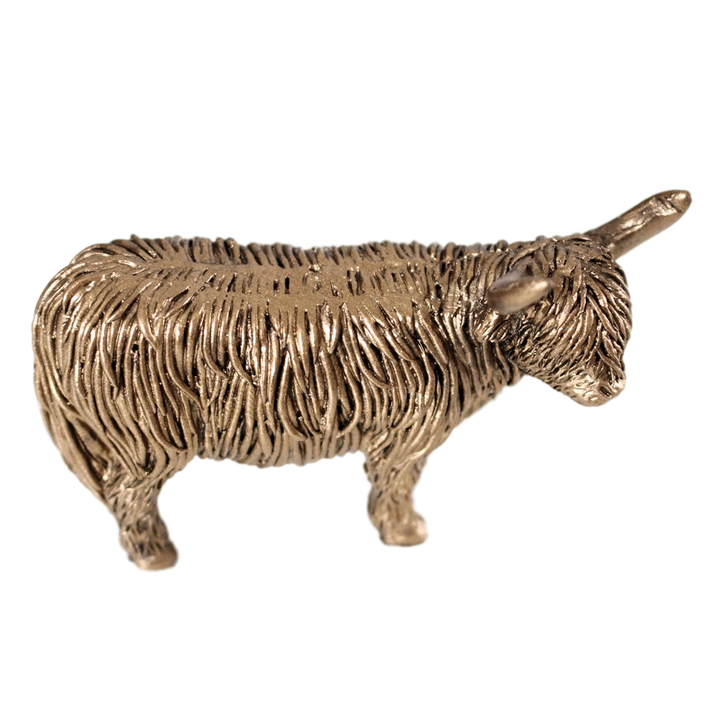 Bronzed Mini Standing Highland Cow Figurine (C)