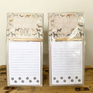 Dog Print Magnetic Memo Pads with Pencil x 2