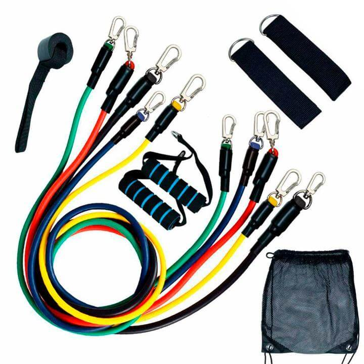 Ultimate Resistance Tubes Set - 14 pack with Handles, Door Anchor + 3 Pack Resistance Bands
