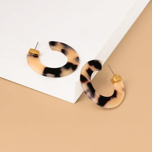 POLARIS Leopard Resin Hoop Earrings