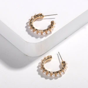 REGULUS Gold Pearl Hoops